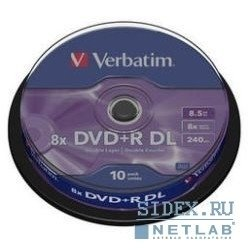 Диск DVD+R Verbatim 8.5Gb 8x Double Layer Cake Box (10 шт) (43666)